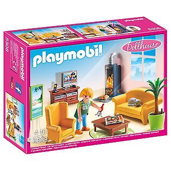 Playmobil 5308 nukkekodin olohuone, jossa takka