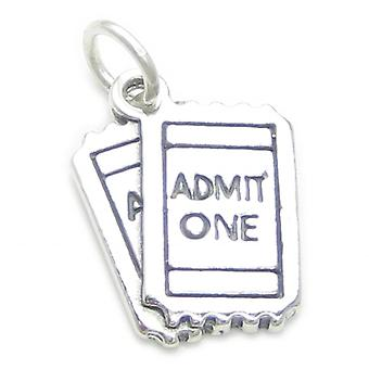 Admit One Tickets Sterling Silver Charm .925 X 1 Movie Cinema Charms - 3447