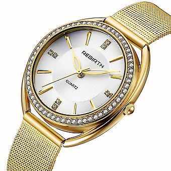 REBIRTH RE115 الماس الطلب حالة المرأة المعصم ووتش الصلب الكامل أنيقة تصميم رصيف