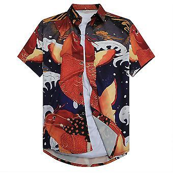 Allthemen Men's 3D Printed Shirt Auspicious Carp Short-sleeved Lapel Top
