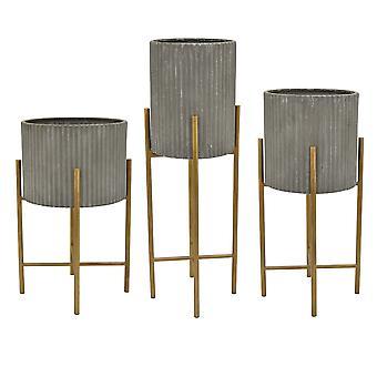 Plutus Brands Metall-Pflanzgefäß-Set von drei in Grau Metall