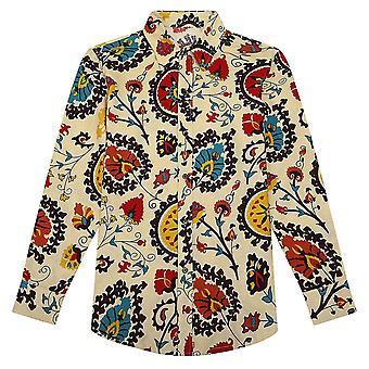 Heren's Plus Size Etnisch Linnen Shirt met lange mouwen