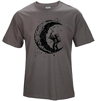 Moon Print Mens O-neck T Skjortor