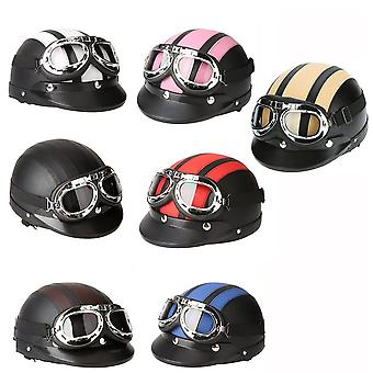 Moto scooter viso aperto mezzo casco in pelle con visiera uv occhiali retrò stile vintage 54-60cm