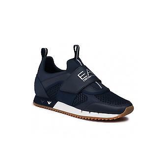 إمبوريو أرماني EA7 البحرية / الفضة شبكة حزام على حذاء رياضي المدرب