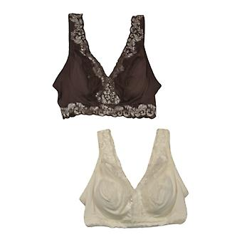 Breezies Women's Bra Soft Support W/ Contrast Lace Set من 2 Brown A373660