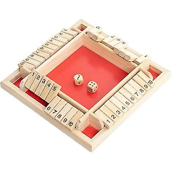 DZK Shut the Box Family Game 4 Players Wooden Dice Game for Kids and Adults Travel Games
