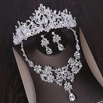 Ensembles de bijoux crystal heart - Couronne, Boucle d'oreille, Collier