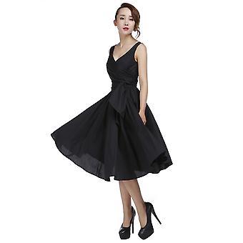 elegant stjerne pluss størrelse retro wrap ermeløs kjole i svart