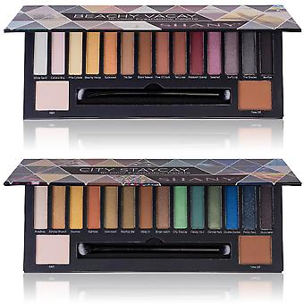SHANY Beachy Vacay 16-Color Eyeshadow Palette - 16 Highly-Pigmented and Long-Lasting Eye Makeup Shades with Dual-Sided Brush and Built-In Mirror