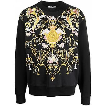 Versace Jeans Couture Cotton Black/floral Sweatshirt