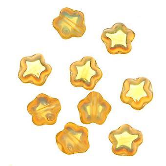 Cuentas de vidrio checas Topacio AB Tiny Stars 6mm (25)