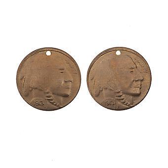 Vintaj Natural Brass, Buffalo Nickel Coin Charms 24 Gauge 13mm, 2 Stycken