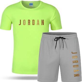 Letter Printed T-shirt Sports Suit, Summer Short Sleeve Shorts Set