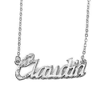 """L Claudia - 18-karat hvidguld belagt halskæde, med brugerdefineret navn, justerbar kæde på 16 """"- 19"""", i Ref emballage. 496330313867"""