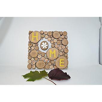 "Holzbild Holz Dekoration 25.5x25 cm Baumscheibenbild ""Home"" Schriftbild Bild Wandbild aus Holz Holzdeko handmade made in Austria"