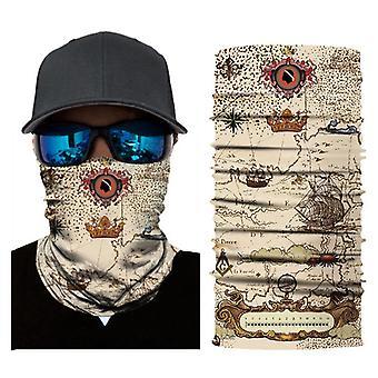Açık hava sporları güneş koruma retro harita bisiklet maskesi