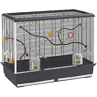 Vogelheim für Kanarienvögel, Sittiche und kleine Exoten, Maße: 87 x 46,5 x 70 cm, schwarz