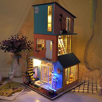 Diy dollhouse kit wooden building model creative toy birthday gift