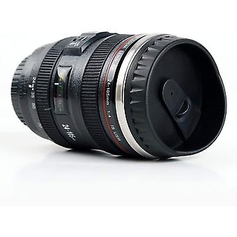 Wokex Kameraobjektiv Tasse Kaffeetassen, Edelstahleinsatz, 350ml Schwarz