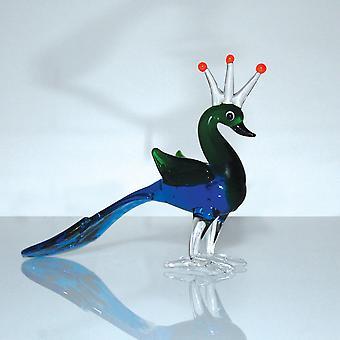 קישוט זכוכית מיניאטורי של Objets d'Art - טווס