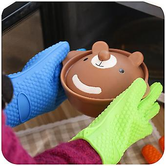 Kitchen Heat Resistant Silicone Glove Oven Pot Holder Baking Bbq Cooking Tool