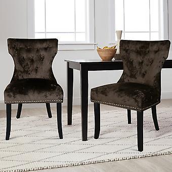 Ensemble de 2 chaises à manger en velours de glace boutonné