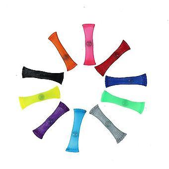 10db színes anti stressz fonott mesh tube gyöngyök szorongáscsökkentő toy gyerekeknek
