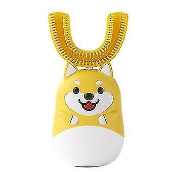 Детская U-образная электрическая зубная щетка £? Ультразвуковая автоматическая зубная щетка (желтая)