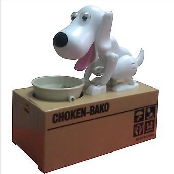 Niedliche Welpen Hund Sparschwein Spardose Spargeld sparen Topf Münzbox Kann elektronisches Sparschwein Kinder Kinder Weihnachtsgeschenke (weiß)