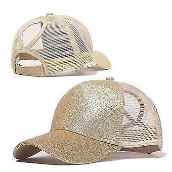 Hatut säädettävä glitter poninhäntä baseball kesä verkko lippis
