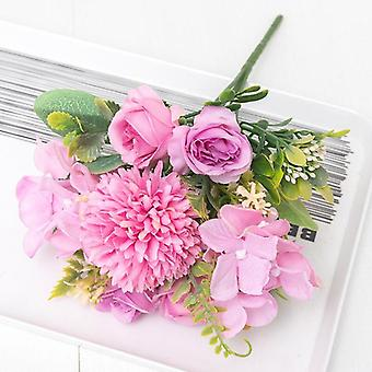 White rose artificial silk flowers dandelion wedding fake flower bride hand bouquet home party christmas decoration arrangement