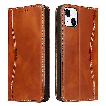 Para iPhone 13 Funda Marrón Fierre Shann Genuine Cowhide Cuero Wallet Cover