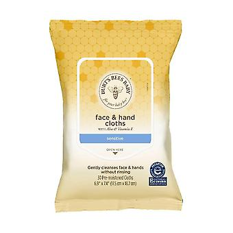 Burt's bees baby face & hand cloths for sensitive skin, unscented, 30 ea