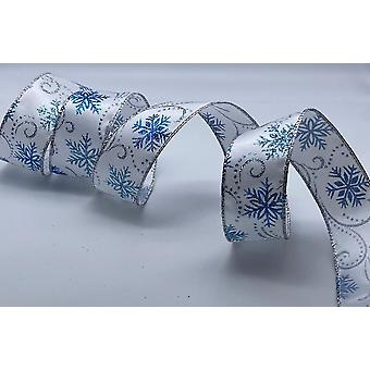 Christmas Wire Edged Ribbon 1.5 inches Wide 10 Metres - White with Blue Glitter Snowflakes
