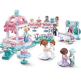 Деревянные блоки собраны здание свадебный поплавок мальчики и девочки дети игрушки мозг игра|стекление блоков розовый