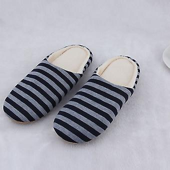 Striped Cloth Bottom Couples Women Men Warm Slippers Non Slipping Shoes