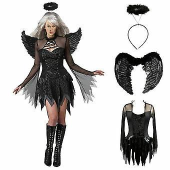 Ladies Black Dark Fallen Angel Cosplay Costume Halloween Women Dress