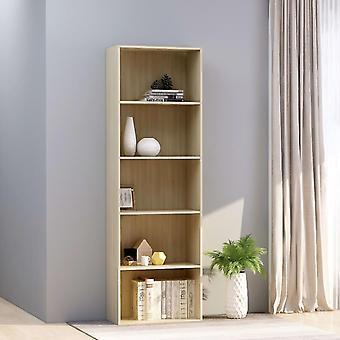 Chunhelife Armoire à livres à 5 niveaux Sonoma Oak 60x30x189 Cm Aggloméré