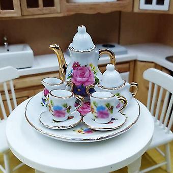 8pcs 1:12 Dollhouse Miniature Dining Ware Porcelain Tea Set Dish Cup Plate