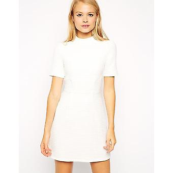 Ex Asos A Line Dress With High Neck In Texture