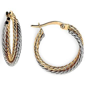 9 CT oro bianco e oro orecchino