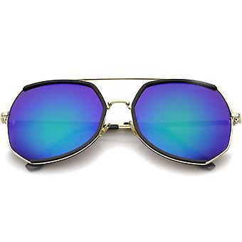 Womens Fashion Gold Metal Crossbar Mirror Lens Oversized Sunglasses 64mm