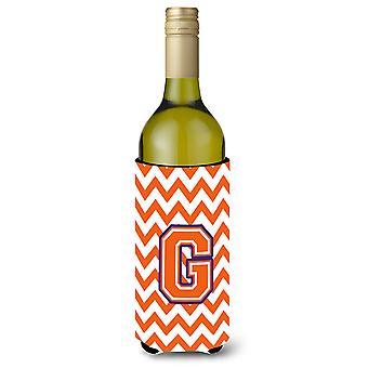 Lettera G Chevron arancio e Regalia bottiglia di vino bevanda isolante Hugger