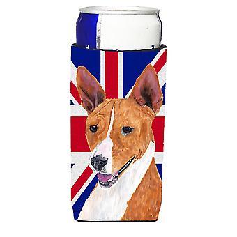 Basenji mit englischen Union Jack britische Flagge Ultra Getränke Isolatoren für schlanke