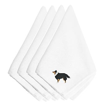 Sheltie/Shetland Sheepdog Embroidered Napkins Set of 4