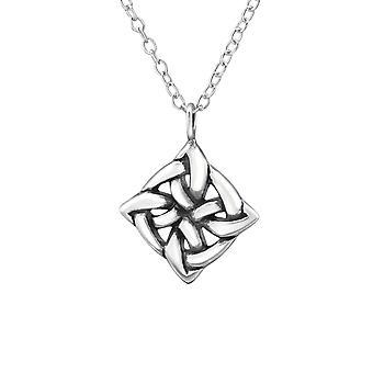 Square Celtic Knot - 925 Sterling Silver Plain Necklaces - W30872X