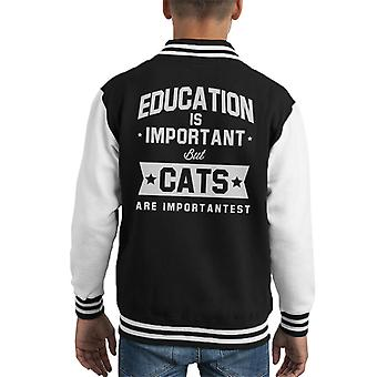 Bildung ist wichtig, aber Katzen sind wichtigst Kid Varsity Jacket