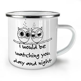 Owl Love Cool Joke Funy NEW WhiteTea Coffee Enamel Mug10 oz | Wellcoda