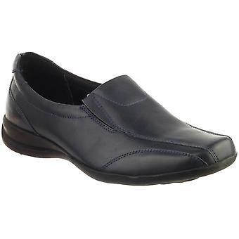 Amblers Ladies Ladies Slip-On Twin Gusset Leather Slip On Shoe Navy